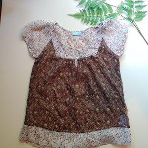 Sheer floral boho flutter blouse